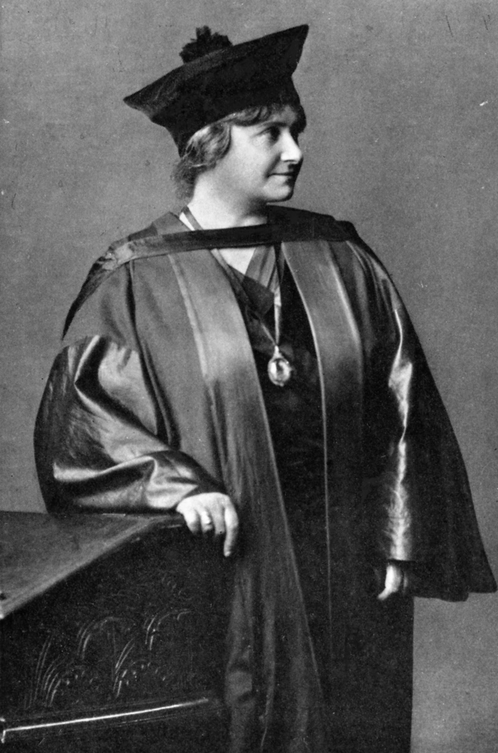 circa 1920: Professor Maria Montessori (1870 - 1952) in academic gown. She was the first woman to obtain a medical degree in Italy - from the University of Rome and developed the system of education for young children based on spontaneity of expression and freedom from restraint. (Photo by Hulton Archive/Getty Images)